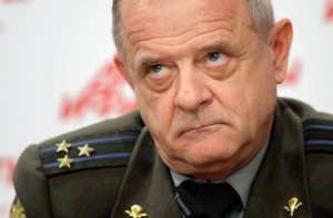 Retired Col. Vladimir Kvachkov speaks during a news conference in Moscow (AP Photo/Ivan Sekretarev)