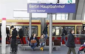 A S-Bahn city train is seen on a platform at the main railway station Hauptbahnhof in Berlin