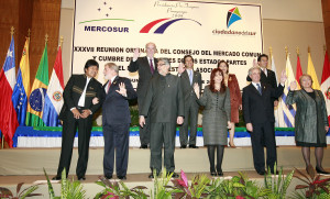 Leaders of Mercosur countries pose for a group photo in Asuncion
