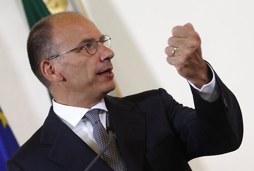 Italy's Prime Minister Letta addresses a news conference in Vienna